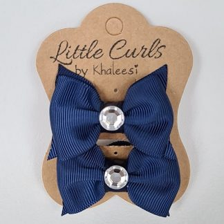 2 inch Handmade Navy Blue Bows with Rhinestone (Twin Pack)
