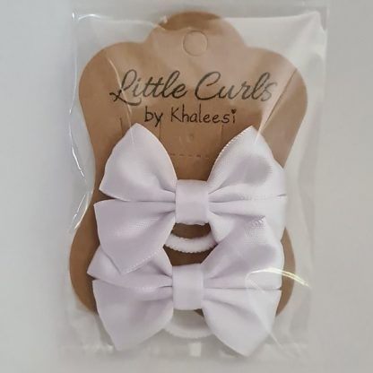 2.5 inch Handmade White Bows (Twin Pack)