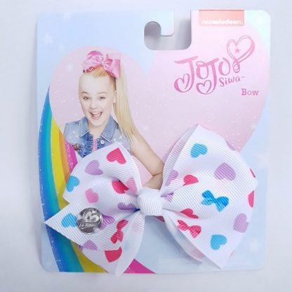 3.5 inch White JoJo Bow with Love Hearts
