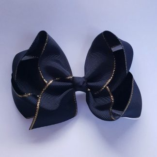 4 Inch Black Bow with Gold Trim