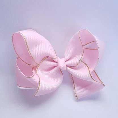 4 Inch Pink Bow with Gold Trim