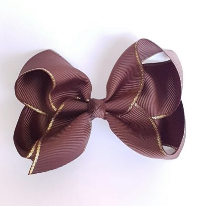 4 inch Brown Bow with Gold Trim