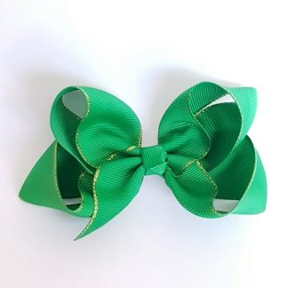 4 inch Green Bow with Gold Trim