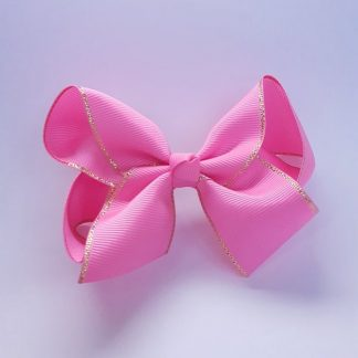 4 inch Hot Pink Bow with Gold Trim