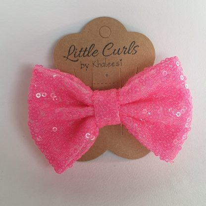 4 inch Hot Pink Sequin Bow