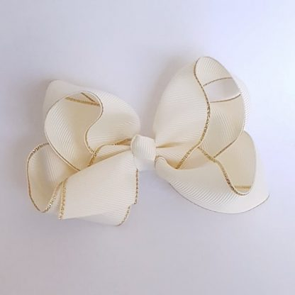 4 inch Light Beige Bow with Gold Trim