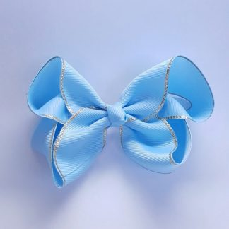 4 inch Light Blue Bow with Gold Trim