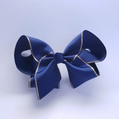 4 inch Navy Blue Bow with Gold Trim