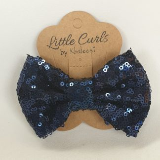 4 inch Navy Blue Sequin Bow