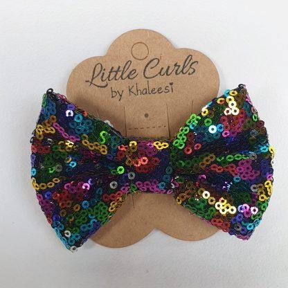 4 inch Rainbow Sequin Bow