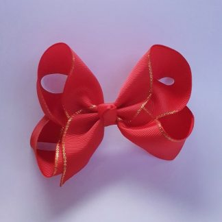 4 inch Red Bow with Gold Trim