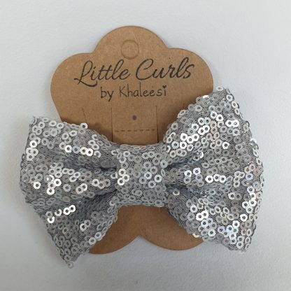 4 inch Silver Sequin Bow