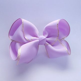 4 inch Violet Bow with Gold Trim