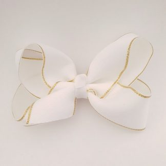 4 inch White Bow with Gold Trim