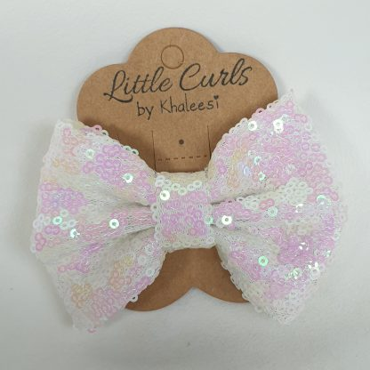 4 inch White Sequin Bow