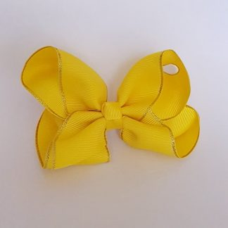 4 inch Yellow Bow with Gold Trim