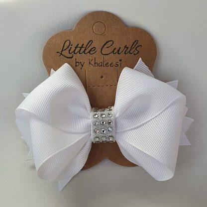4.3 inch Handmade White School Bow with Rhinestones