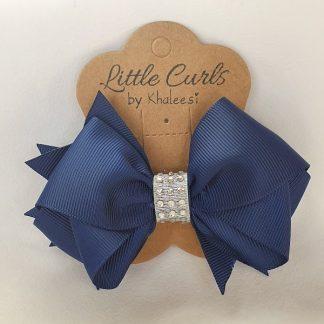 4.3 inch Navy Blue School Bow with Rhinestones