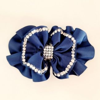 4.5 inch Handmade Frilled Navy Bow with Rhinestones