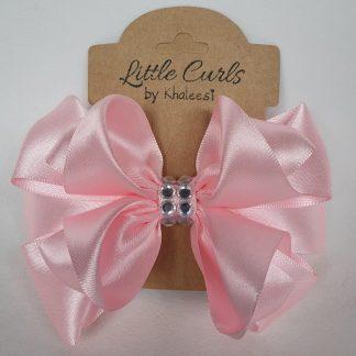 4.5 inch Handmade Pink Luxury Bow with Rhinestones