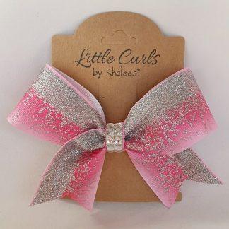 4.5 inch Handmade Pink Mini Cheer Bow with Rhinestones