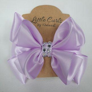4.5 inch Handmade Violet Luxury Bow with Rhinestones