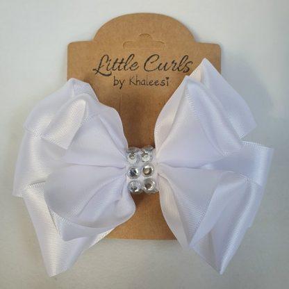 4.5 inch Handmade White Luxury Bow with Rhinestones
