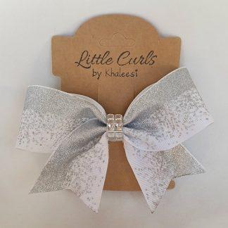 4.5 inch Handmade White Mini Cheer Bow with Rhinestones