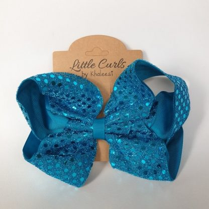 6 inch Blue Sequin Ribbon Bow