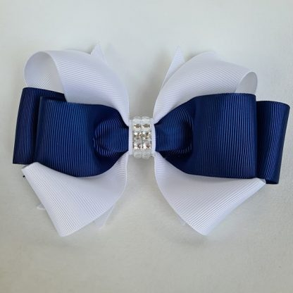 6 inch Handmade Dual Colour Bow with Rhinestones (White & Navy)