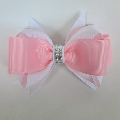 6 inch Handmade White and Pink Bow with Rhinestones