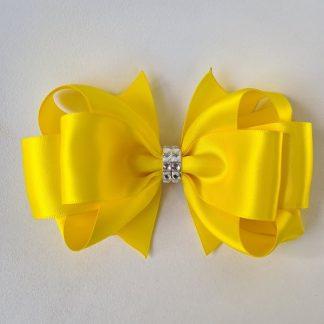 6 inch Handmade Yellow Bow with Rhinestones