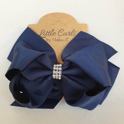 6 inch Navy Blue 2 Layer Luxury Rhinestone Bow