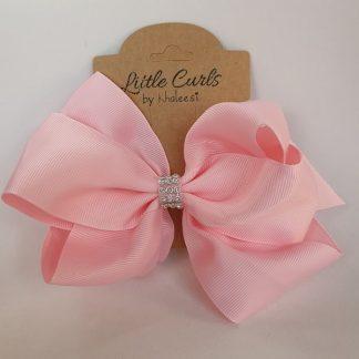 6 inch Pink 2 Layer Luxury Rhinestone Bow