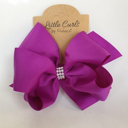 6 inch Purple 2 Layer Luxury Rhinestone Bow