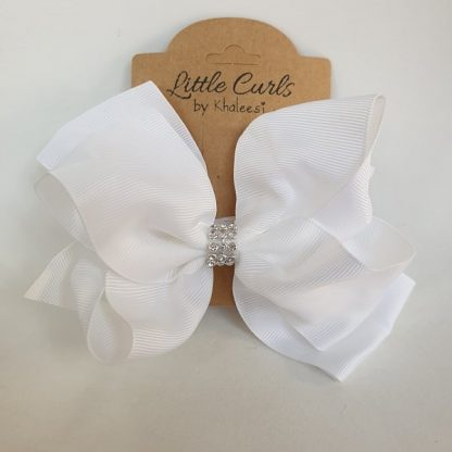 6 inch White 2 Layer Luxury Rhinestone Bow