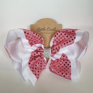8 inch Pink & White Rhinestone Bow