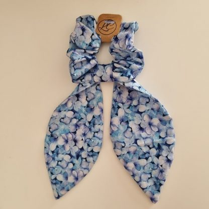 Handmade Blue and White Scrunchie with Big Tails