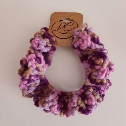 Handmade Crochet Pink and Purple Scrunchie