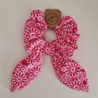 Handmade Red and White Scrunchie with Small Tails