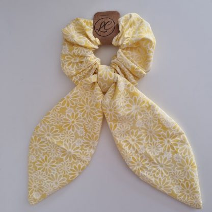 Handmade Yellow and White Scrunchie with Tails